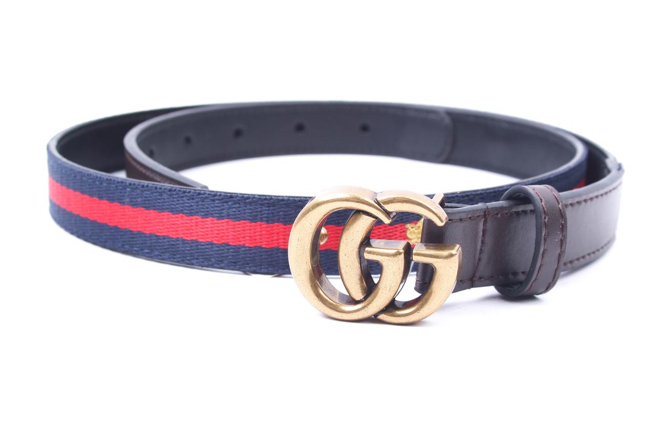 Ремень женский Gucci джинсовый, текстиль, натуральная кожа, цвет синий + красный (длина 90 см, ширина 2 см)