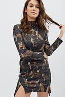 Платье женское, цвет: черный-коричневый, размер: XS