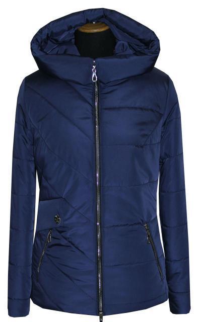 Демисезонная женская куртка темно-синего цвета. Размеры: 42-56