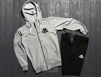 Спортивный костюм Kappa серого и черного цвета (люкс копия)
