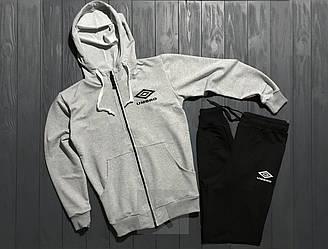 Спортивный костюм Umbro серого и черного цвета (люкс копия)