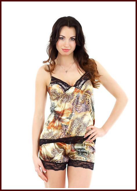 Ночная пижама коричневая атлас + кружево-стрейч