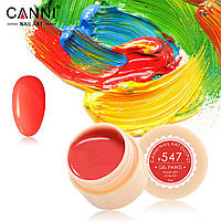 Гель-краска Canni  547 яркая оранжево-красная, неоновая 5ml