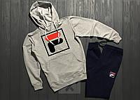 Спортивный костюм FILA серого и синего цвета (люкс копия)