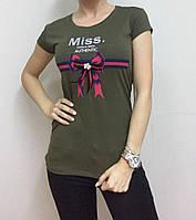 Женская футболка декорированная бантиком, фото 1