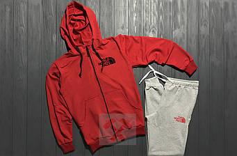 Спортивный костюм the north face красного и серого цвета (люкс копия)