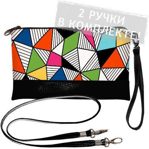 Стильная сумка-клатч Геометрия 2 ручки в комплекте