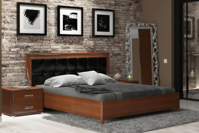 Ліжко з ДСП/МДФ в спальню Белла 1,6х2,0 м'яка спинка з каркасом чорний Миро-Марк
