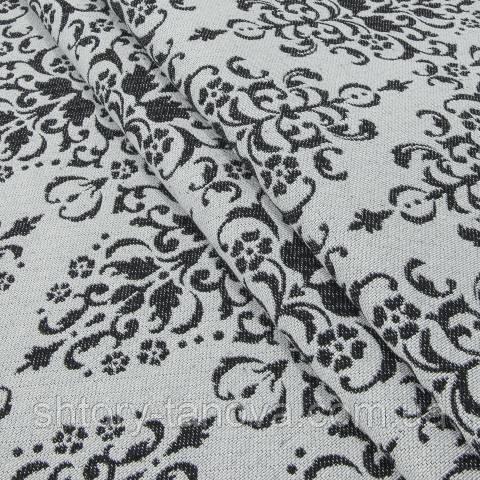 Гобелен ткань, вензель, чёрно-белый