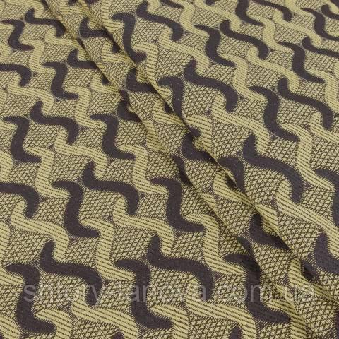 Гобелен ткань, абстракция, бежево-коричневый