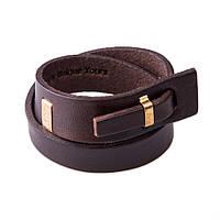 Кожаный браслет в два обхвата LUY n-2-two-5 коричневый (фирменная пробковая коробочка в подарок)