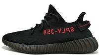 Мужскиекроссовки Adidas Yeezy Boost 350 V2 (Адидас Изи Буст) черно-красные