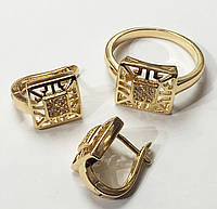 Набор Xuping серьги(D-12 H-9)+ кольцо, размер 16, 17