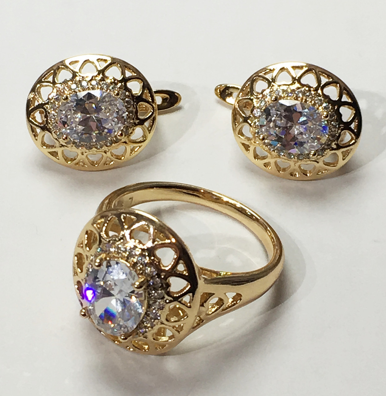 Набор Xuping серьги(D-15 H-13)+ кольцо, размер 17, 18, 19, 20
