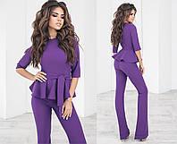 Стильний жіночий брючний костюм двійка блузка з баскою і з поясом +кольору, фото 1