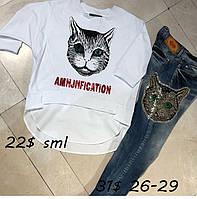 Джинсы AMN женские с котом