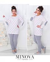 Пижама женская с удлиненной кофтой и легинсами №809б-пудра