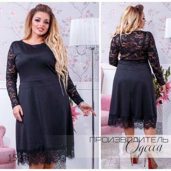 3a3bb960764 Платье 048 спина с рукавами гипюровая R-15211 черный Производитель ...