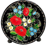 Тарелка Цветы М8 25см (Петриковская роспись)