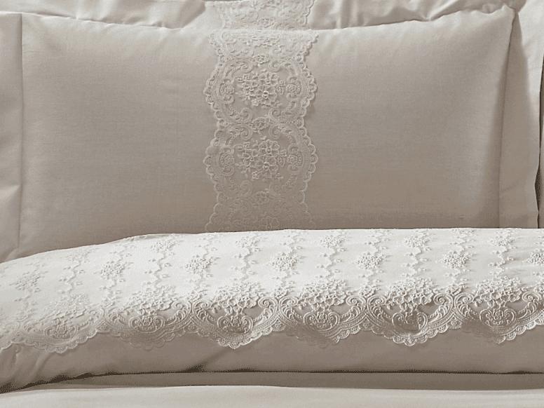Комплект постельного белья + покрывало TIVOLYO HOME Cameo двуспальный - евро, Бежевый