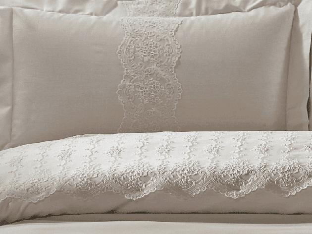 Комплект постельного белья + покрывало TIVOLYO HOME Cameo двуспальный - евро, Бежевый, фото 2