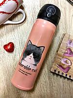 """Термос с котенком коралловый """"аdorable cat"""",    подарок на 8 марта"""