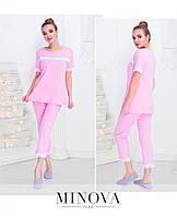 Пижама из плотного трикотажа с кружевом состоит из длинной расклешенной футболки с коротким рукавом и брюк-капри с высокой посадкой №912н-розовый