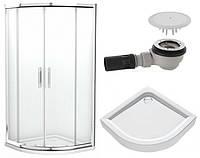 GEO 6 кабина полукруглая 90*90 см, прозрачное стекло+FIRST поддон полукруглый 90см+сифон Геберит