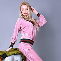 Велюровый стильный женский костюм. Розовый, 6 цветов. Р-ры: S, M, L.