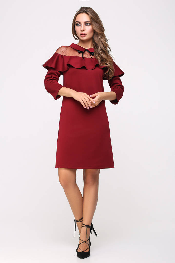 Платье женское, цвет: марсала, размер: 42