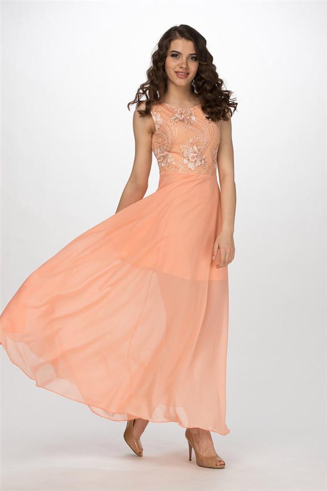 2a49da9d2c686d0 Женственное платье персикового цвета