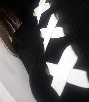 Черная теплая кофта Makariya с белой шнуровкой на груди (112)336, фото 2