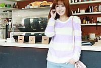 Пушистый вязаный свитер Sharon в полоску (2 цвета) (112)285