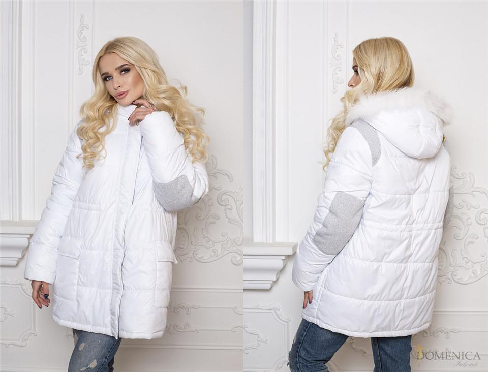 Теплая зимняя куртка Ruby с двумя удобными карманами украшена заплатками на рукавах (128)890