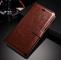Кожаный чехол-книжка для Huawei P10 Lite коричневый