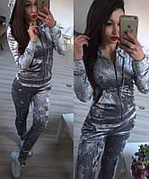 Женский Спортивный костюм бархат муар серый