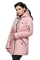 Женская демисезонная куртка-парка цвет пудра, фото 1