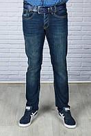 Мужские джинсы темно-синие  с ремнем