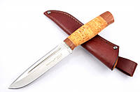 Нож охотничий Буйвол с рукоятью из бересты с кожаным чехлом  + эксклюзивные фото, фото 1