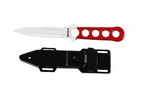 Нож для дайвинга Мангуст, со стропорезом и пластиковым чехлом и ремнями для крепления