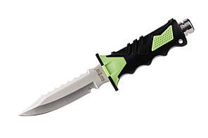 Нож для дайвинга Акула, со стропорезом и пластиковым чехлом с ремнями для крепления на тело