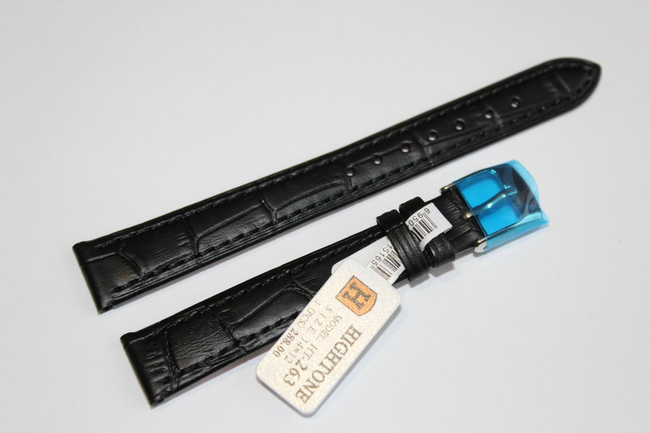 Кожаный ремень для  наручных часов HIGHTONE-черный выделкой под крокодил14 мм