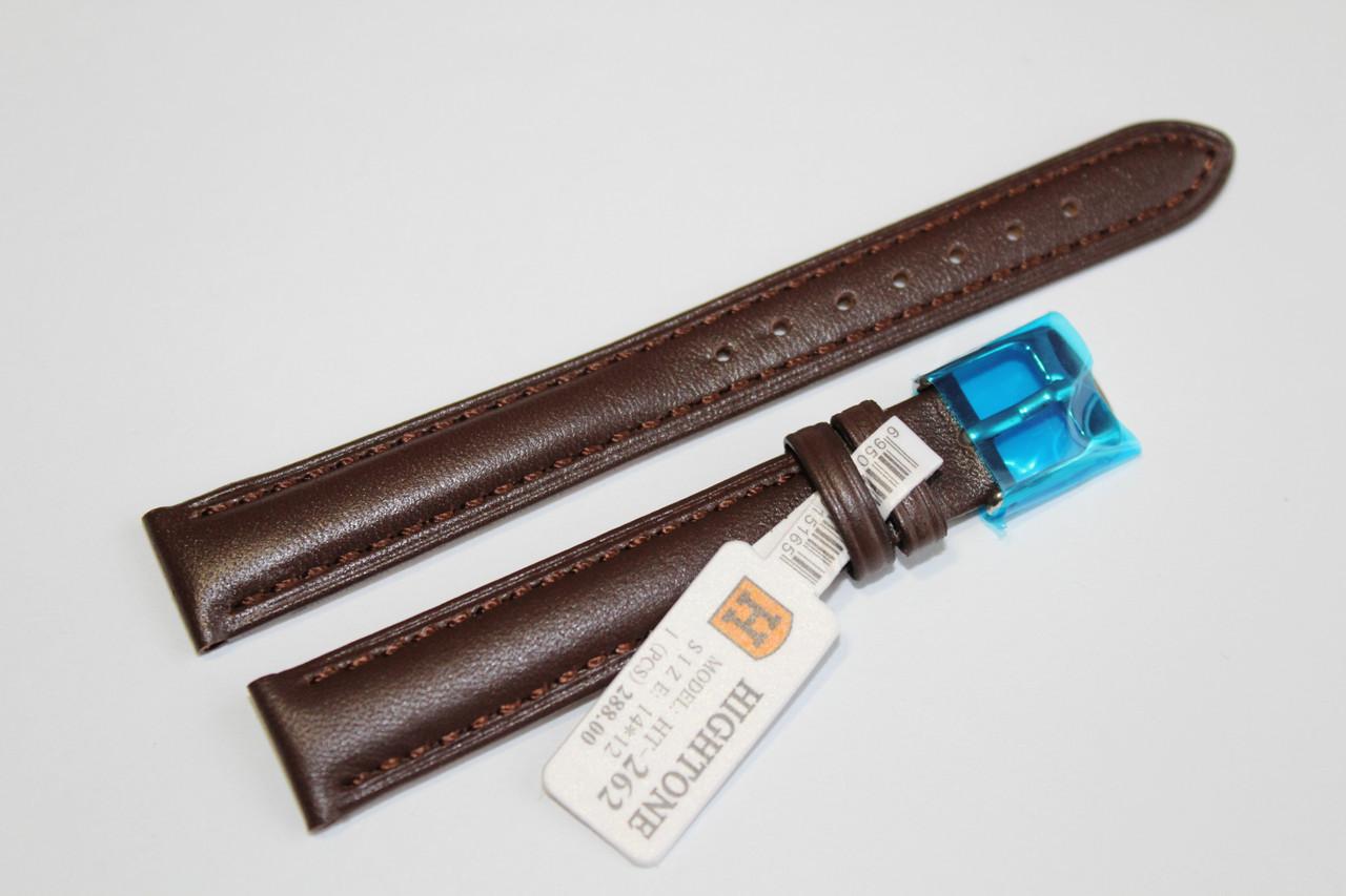 Кожаный ремень для  наручных часов HIGHTONE-темно-коричневый гладкий 14 мм