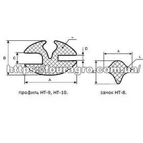 Уплотнитель стекла МТЗ МК, ЮМЗ-6 МК, Т-150, Т-40, Т-25, Т-16 (НТ-9 (ПР-1) + замок НТ-8 (ПР-2) за 1 метр)