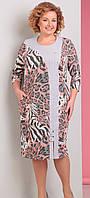 Платье Novella Sharm-2951 белорусский трикотаж, серо-розовые тона-леопард, 64