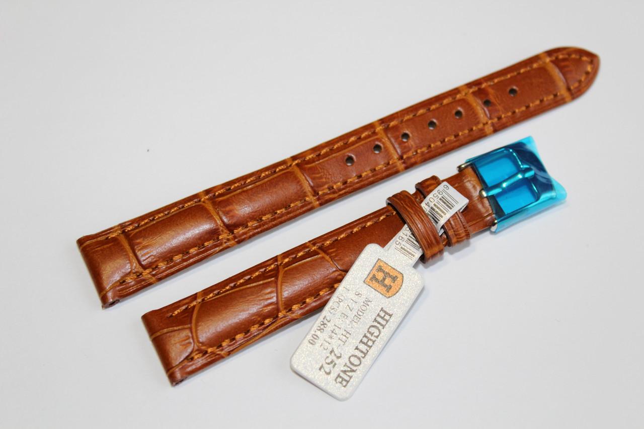 Кожаный ремень для  наручных часов HIGHTONE-светло-коричневый выделкой под крокодил 14 мм.