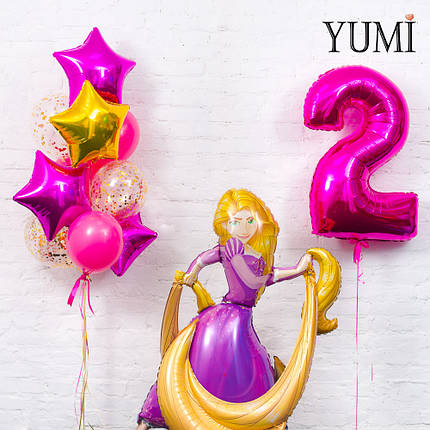 Композиция из фигуры Рапунцель, цифры 2 фуксия и связки из 4 звёзд, 3 фуксия и 3 шаров с конфетти, фото 2