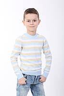 Джемпер полоска, бежево-голубой