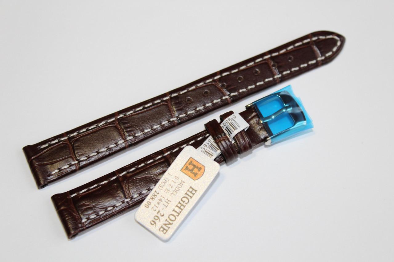 Кожаный ремень для  наручных часов HIGHTONE- коричневый ремень выделкой под крокодил с белой прошивкой 14 мм
