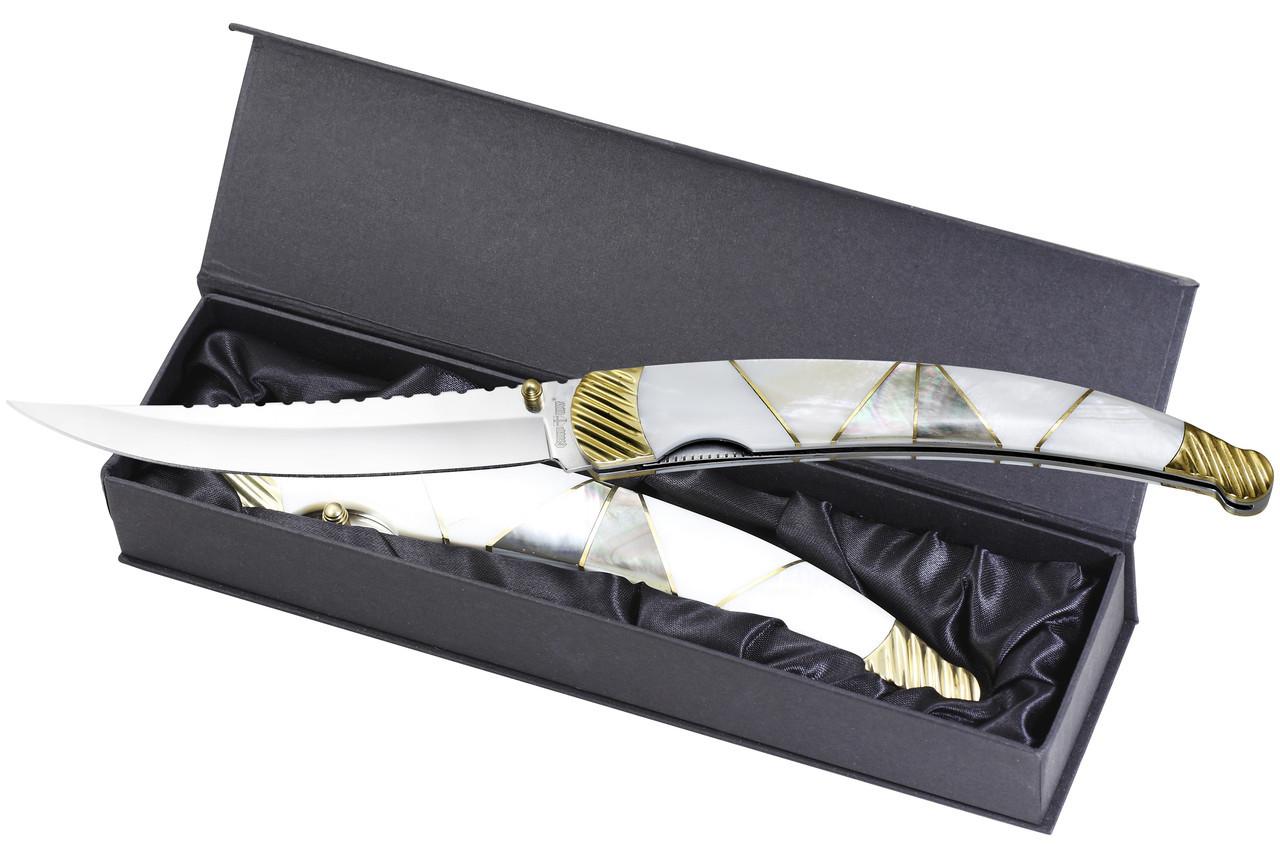 Нож  рукоять натуральная перламутровая ракушка, мрамор, подарок для мужчины, ЭКСКЛЮЗИВ